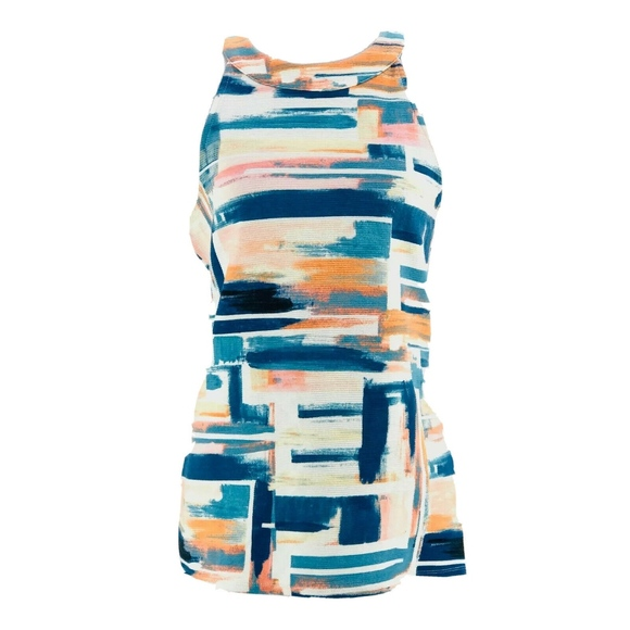 Anthropologie Tops - Deletta Blue & Orange Printed Isa Tank Top Small